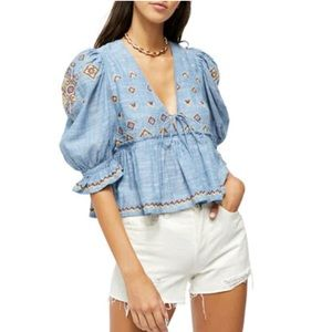 NWT Free People Tallulah Embroidered Blouse Blue